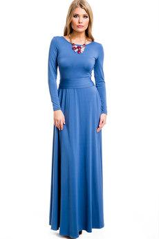 Длинное синее платье с поясом Mondigo