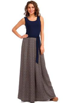 Платье в пол темно синего цвета Mondigo