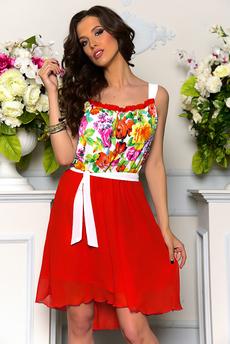 Красное платье с цветами Angela Ricci