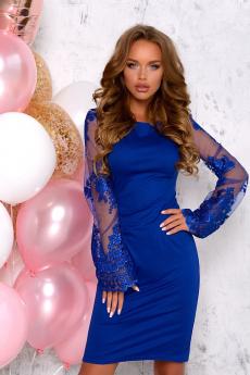 Синее платье с кружевными рукавами Open-Style